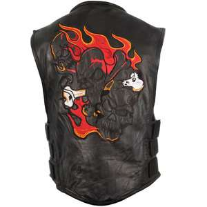 Mens Flaming Triple Skull Motorcycle Leather Vest S M L XL 2XL 3XL 4XL