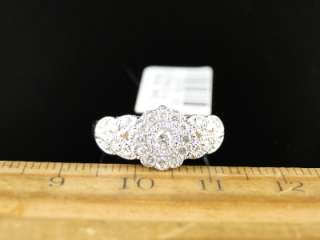 10K LADIES WOMENS WHITE GOLD CLUSTER ROUND CUT DIAMOND FLOWER DESIGNER