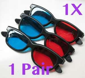Glasses Red & Blue Dimensional Anaglyph Black Plastic Frame 3D