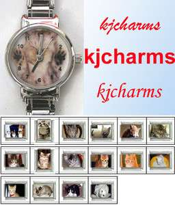 Sleeping Kitten Cat Stainless Steel Italian Charm Bracelet Wrist Watch