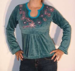 Goth Hippie Boho Top Shirt Velvet empire waist S M L XL