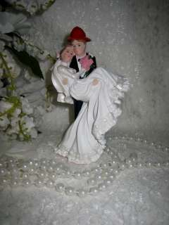 Fireman Groom & Lovely Bride Bridal Wedding CAKE TOPPER