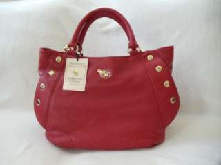 NWT Emma Fox Genuine Soft Leather Satchel Shoulder Bag, Red!
