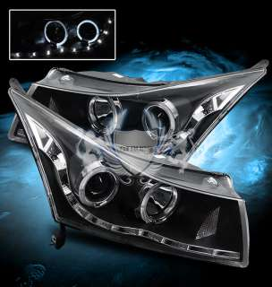 11 12 Chevy Cruze Twin Angel Eye Halo Ring Projector LED Black