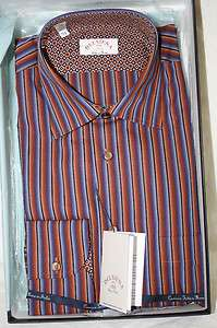 Delsiena ITALY Mens Brown Striped Dress Shirt New in Box SKU 54