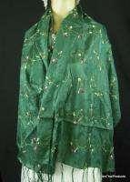 Silk Scarf Shawl Wrap Thai Vintage Style Aqua Green B27 BTP