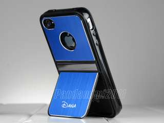 Blue Deluxe Aluminum Hard Case Cover w/ Chrome Stand F iPhone 4 4S 4G