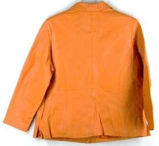 Jessica London BRIGHT Orange Leather Hipster Coat Jacket XXL 18