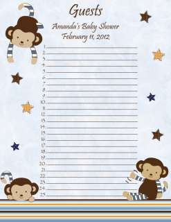 Personalized Cocalo Monkey Mania Baby Shower Guest List