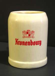1960s Kronenbourg Ceramic Beer Mug French Beer Belgium Mug