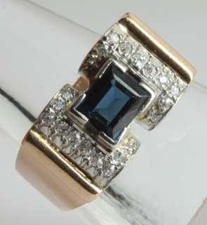 French Art Deco 1.00CT Blue Sapphire & Pave Diamond Two Tone 18K Gold