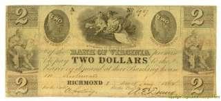 CIVIL WAR BANK OF VIRGINIA $2.00 RICHMOND JAN 1862