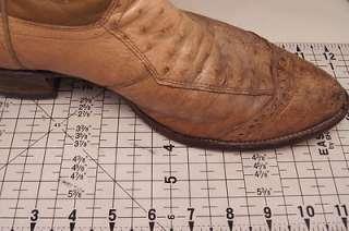 Justin Vintage Ostrich Beige 9.5 D Mens Western Boots