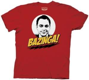 The Big Bang Theory Sheldon Face Bazinga T Shirt, NEW