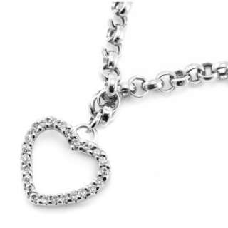 FINE DIAMOND HEART CHARM BRACELET 14K WHITE GOLD