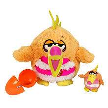 Kookoo Birds 6 inch Plush Toy with Sound   Squawking, Pink Bellied