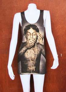 Lil Wayne Rapper Hip Hop R & B WOMEN Black T SHIRT Tank TOP DRESS Size