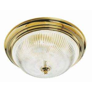 Light Polished Brass with Clear Ribbed Glass Ceiling Light Fixture