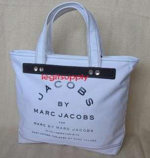 MARC M.JACOBS White Canvas Zipper Tote Bag Handbag