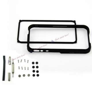 For iPhone 4 4G Black Aluminum Blade Element Metal Bumper Cover Case