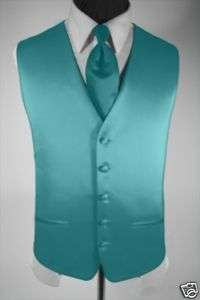 Mens Suit Tuxedo Dress Vest and Necktie Turquoise Small