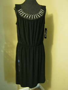 new Another Thyme stud embellished dress 16W career professional black