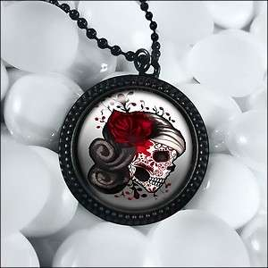 Day of the Dead Sugar Skull Black Punk Necklace RFB 438