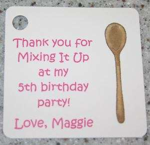 15 Custom Kitchen Mixing Spoon Favor Gift Tags