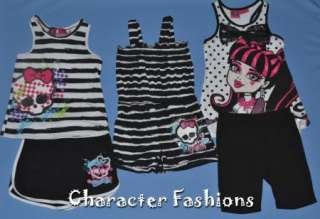 MONSTER HIGH Outfit Set Size 6 6X 7 8 10 12 14 16 Shirt Shorts ROMPER