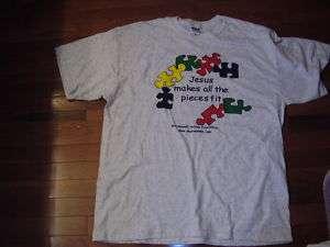 Adult 4X Christian Autism Awareness GRAY t shirt NEW