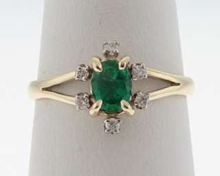 Estate Natural Emerald Diamonds Solid 14k Gold Ring