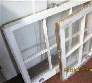 TWO 6 PANE ANTIQUE VINTAGE WINDOW SASH PANE TOP AND BOTTOM
