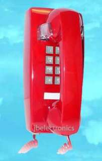 RETRO RED PUSH BUTTON WALL TELEPHONE PHONE VINTAGE LOOK 048044255482