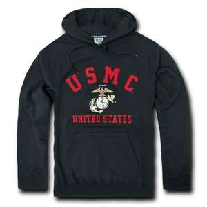 USMC Marine Corps Pullover Black Fleece Hoodie Sweatshirt