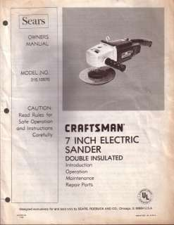 Owners Manual Model No 315.10570 Craftsman 7 Inch Electric