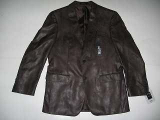 42 Reg. Apt 9 Solid Long Sleeve Faux Leather Sport Coat Jacket NWT $
