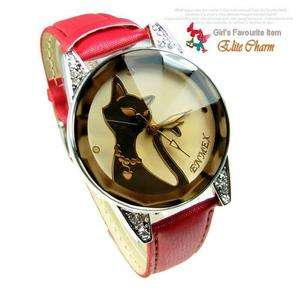 Enticing Elegant Red Kitty Womens Lady Bracelet Watch