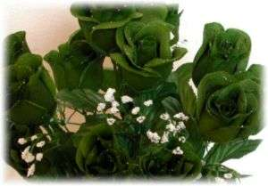 84 Long Stem Roses ~ DARK GREEN HOLLY CAMO Silk Wedding Flowers