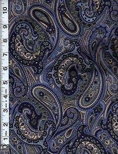 Vivid Paisley in Blue, Green, Tan ~ Quality Fabric ~ 1 2/3YDS