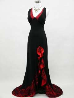 Cherlone Black Backless Long Lace Evening Prom Ball Gown Dress UK Size