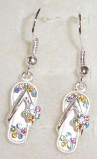 Hawaiian Silver Color Flip Flop Earring Plumeria Flower