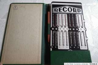 Record Rechenmaschine antik Top Zustand mit Stift orig