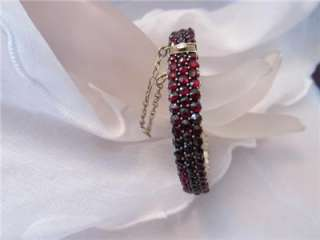 Estate Vintage Antique Victorian Rose Cut Bohemian Garnet Bracelet (3