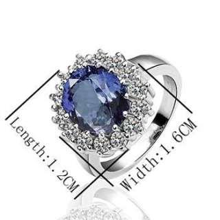 R61 18K white Gold plated blue gem Swarovski crystal Ring size 8