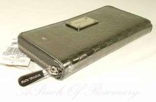 Kors Jet Set Monogram Mirror Metallic Zip Continental Wallet Nickel