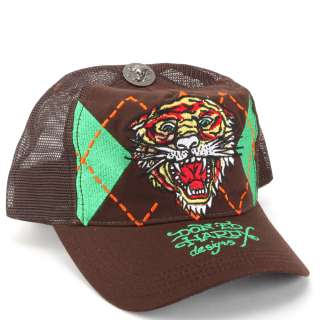 Ed Hardy Brown Argyle Tiger Embroidered Mesh Cap