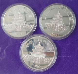 Three 70mm Chinese collection silver&gold filled coins