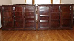 Matching Cherry Wood (?) Glass Display Cabinets   Cigar Store Find