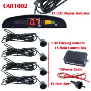 Car LED Reverse Parking Sensor System Backup Radar System Kit Black