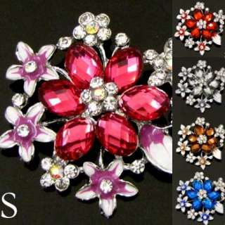 ADDL Item  1pc rhinestone crystal glazed flower brooch